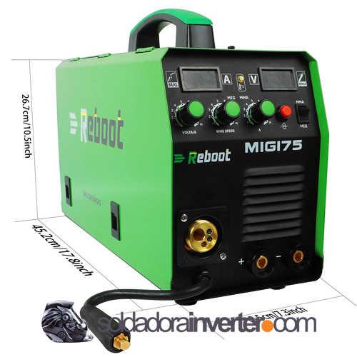 Soldador Reboot Mig 175 de gas y sin gas, Soldador Reboot Mig 175, Soldador inverter Reboot. soldadora inverter
