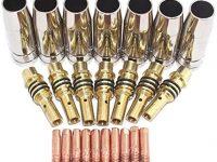 SUSEMSE  Juego de 24 boquillas de 15 AK, puntas de contacto, soporte MIG/MAG